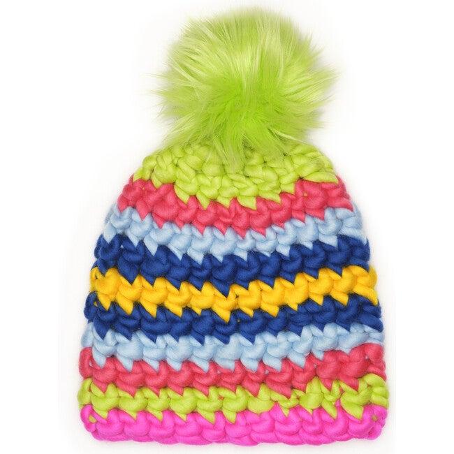 Women's Beanie Stripe, Neons - Hats - 1