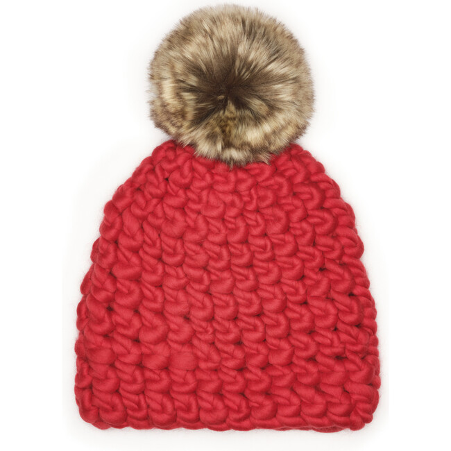 Kids Beanie Pomster, Red