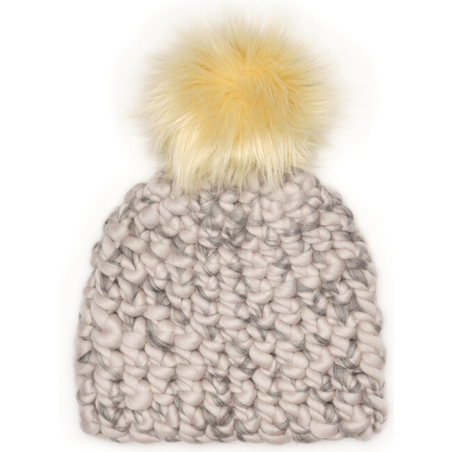 Kids Beanie Pomster, Pewter/Grey Mix Blend