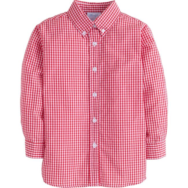 Gingham Button Down Shirt, Red