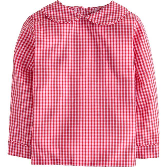 Gingham Peter Pan Shirt, Red