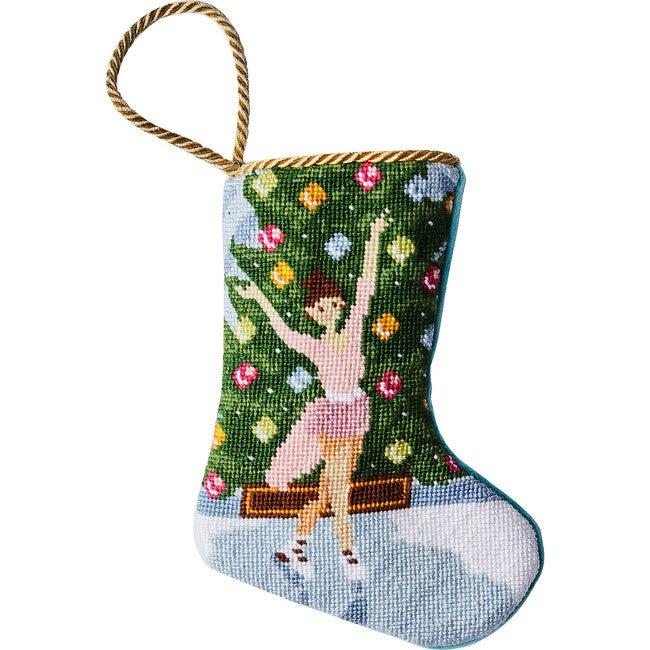 Mini Holiday Grace Ice Skater Stocking, Pink