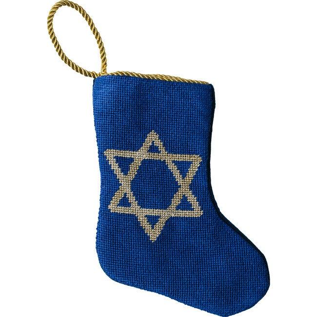 Mini Star of David Stocking, Blue