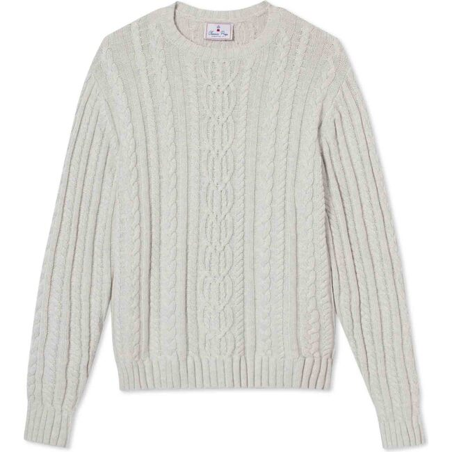 Adult Fishers Cable Knit Sweater, Light Heather Grey