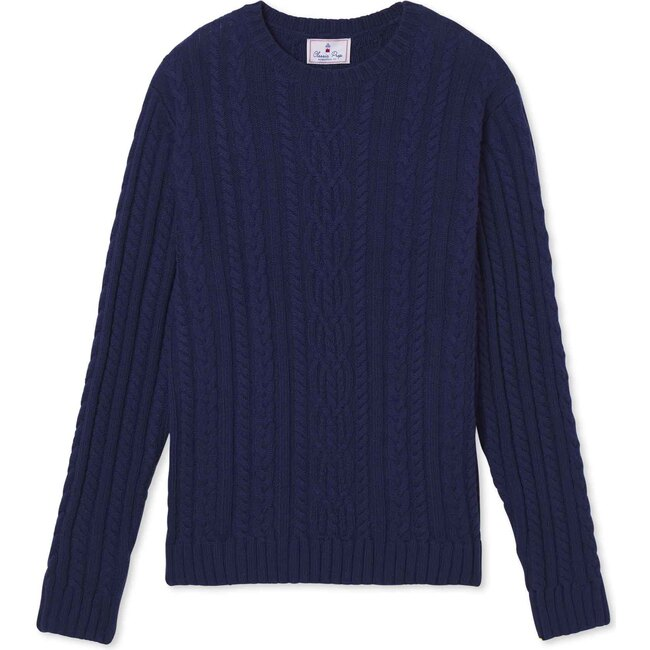 Adult Fishers Cable Knit Sweater, Blue Ribbon