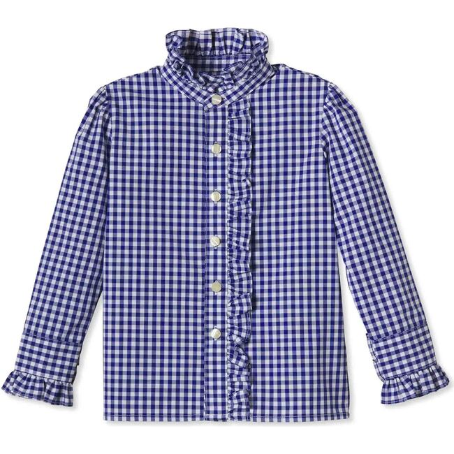Ginny Ruffle Front Button Down, Royal Blue Gingham
