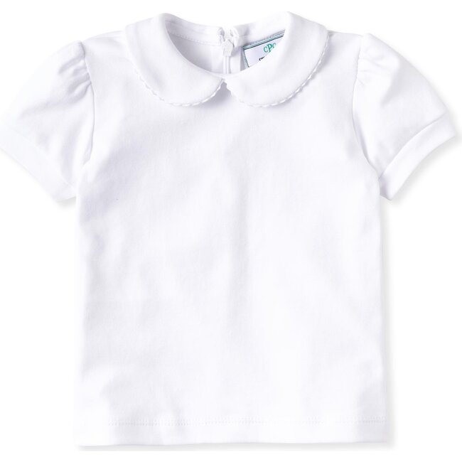 Short Sleeve Isabelle Peter Pan Shirt, White with White Ric Rac