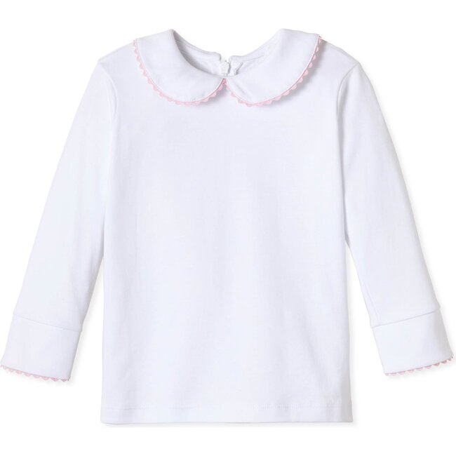 Long Sleeve Isabelle Peter Pan Shirt, Bright White with Lilly's Pink