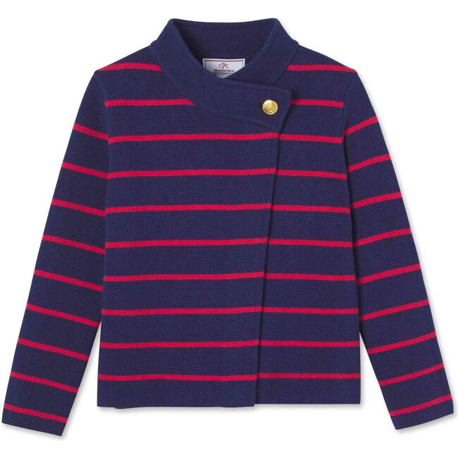 Emery Striped Button Sweater, Blue Ribbon With Mineral Red Stripes