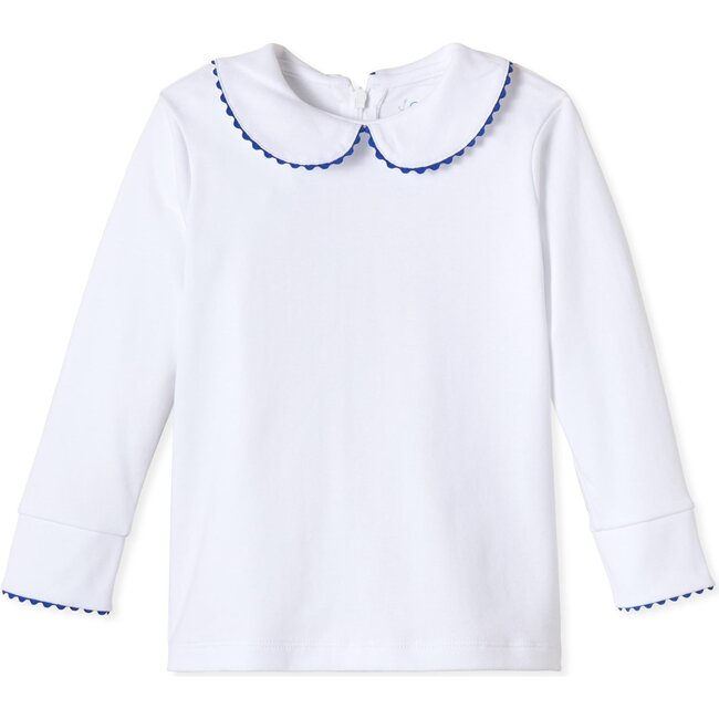 Long Sleeve Isabelle Peter Pan Shirt, Bright White with Navy
