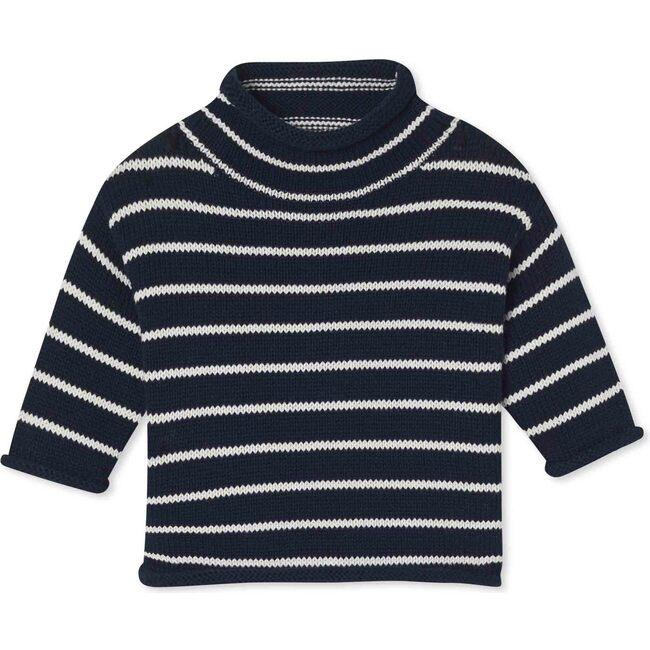 Fraser Roll Neck Sweater Stripe, Navy And Bright White