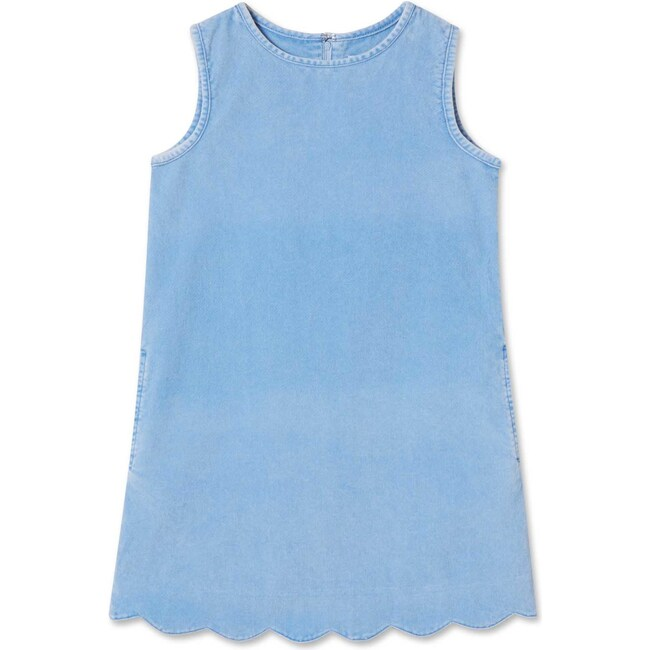 Piper Washed Cord Scallop Dress, Blue Yonder