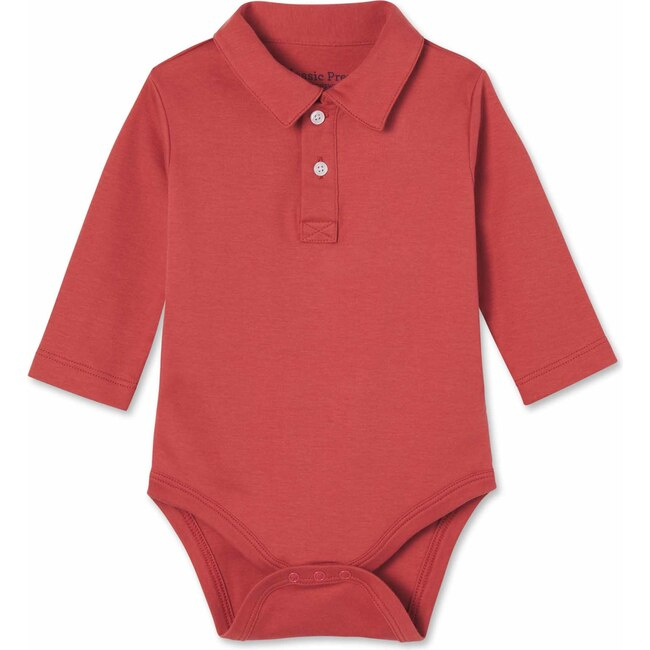 Long Sleeve Hayes Polo Onesie, Mineral Red