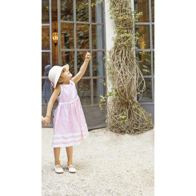 Pure Linen Pink + White Summer Dress