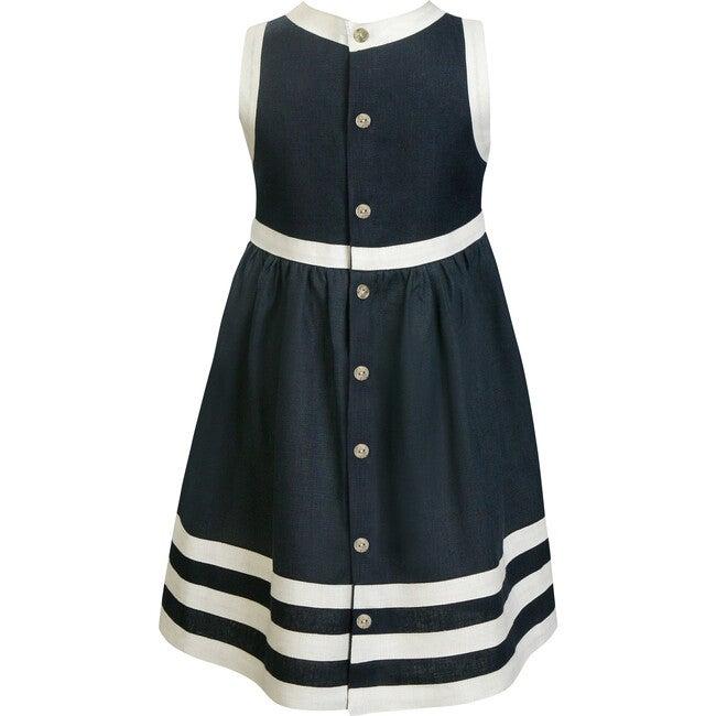 Pure Linen Navy + White Summer Dress