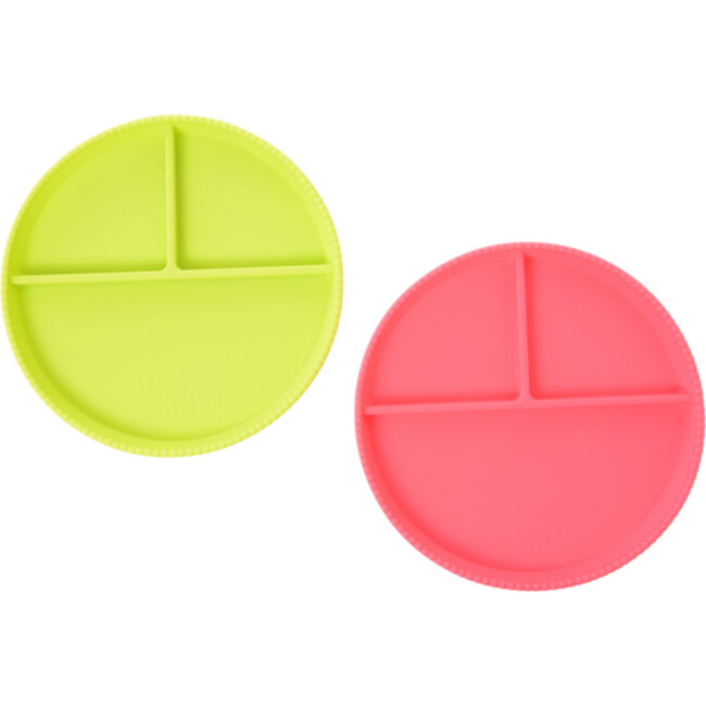 Silicone Divided Plates, Bright Pink/Chartreuse