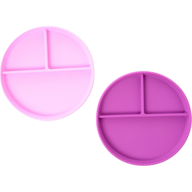 Silicone Divided Plates, Light Pink/Purple