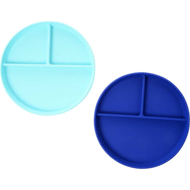Silicone Divided Plates, Turquoise/Cobalt