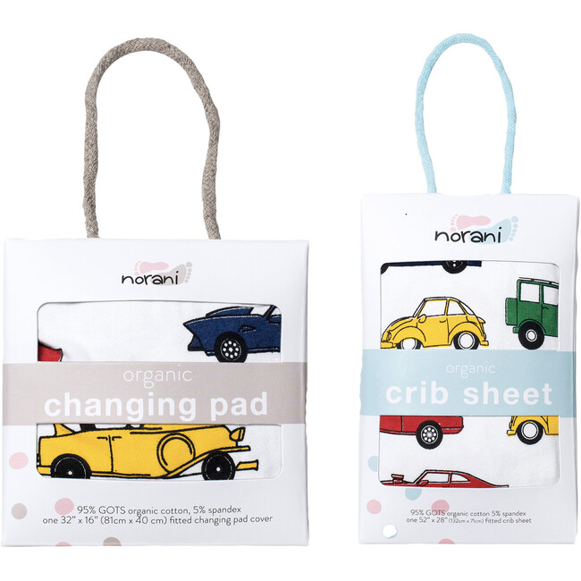 Norani Crib Sheets & Changing Pad Cover Bundle, Colorful Cars