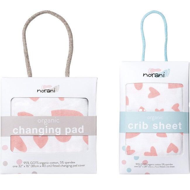 Norani Crib Sheets & Changing Pad Cover Bundle, Pink Hearts