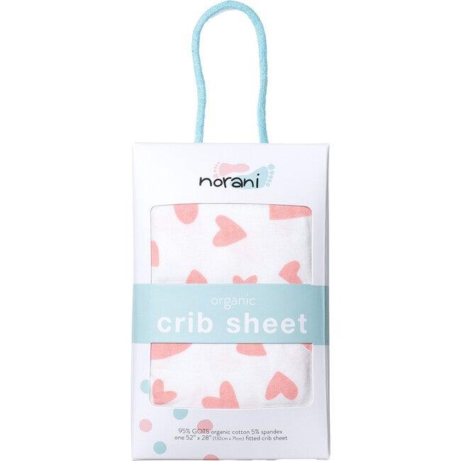 Norani Crib Sheet, Pink Hearts
