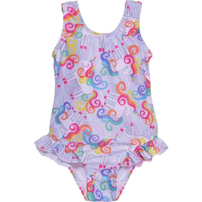 Delaney Hip Ruffle Swimsuit, Unicorn Magic