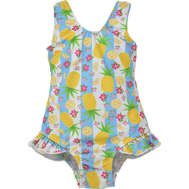 Delaney Hip Ruffle Swimsuit, Pineapple Passion