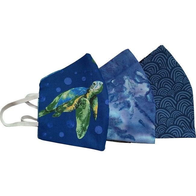 Kids Blue Wave Facemasks Bundle of 3, Blue