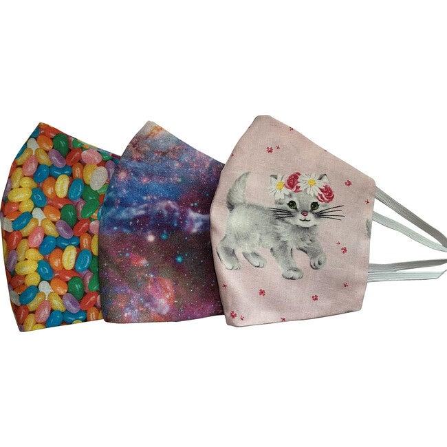 Kids Sweet World Facemasks Bundle of 3, Pink