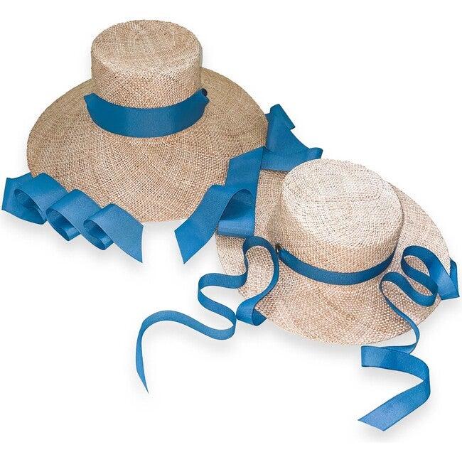 Mommy & Me Sun Hat Set, Antique Blue Grosgrain