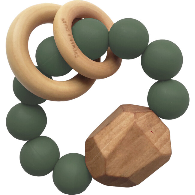 Hayes Silicone + Wood Teether, Kale