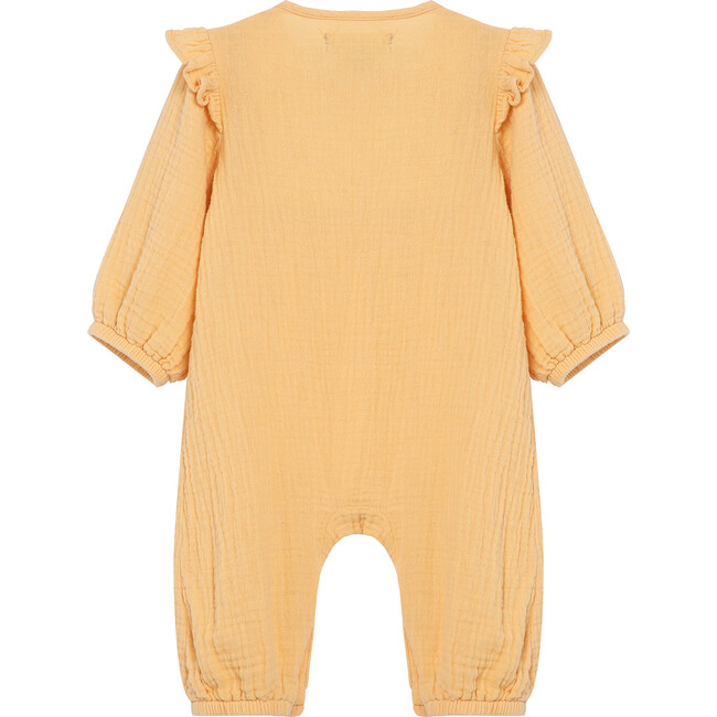 Double Gauze Embroidered Coverall, Tan