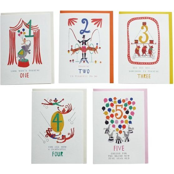 Assortment of 5 Birthday Cards, All Ages