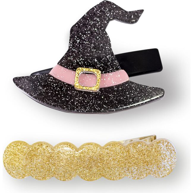 Witch Hat and Wave Alligator Clips, Black and Gold - Hair Accessories - 1