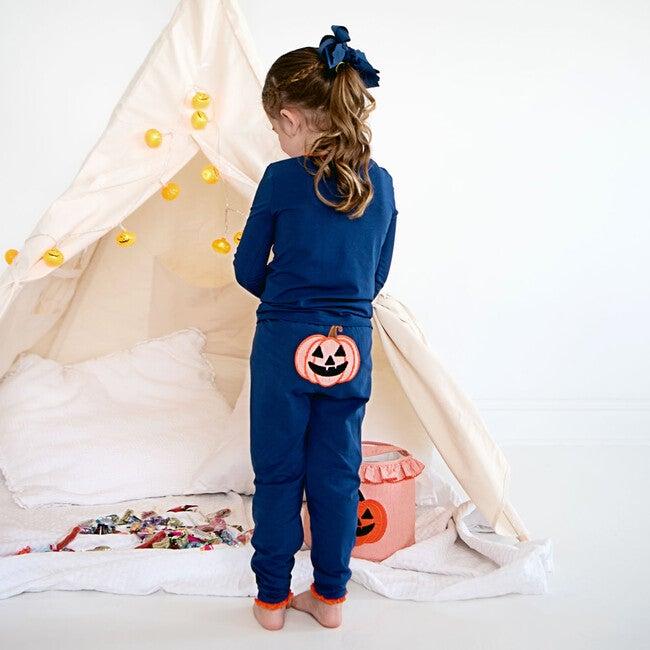 Jack O Lantern Applique Pajama Set with Ruffles, Navy