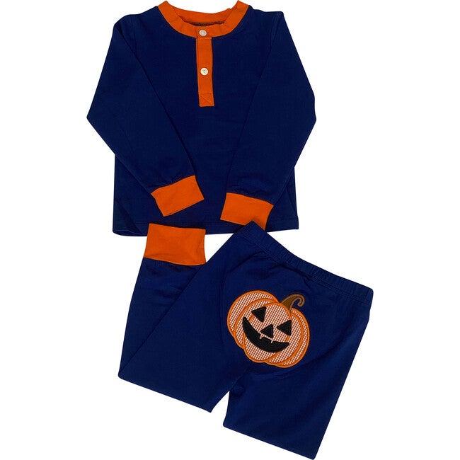 Jack O Lantern Applique Pajama Set, Navy