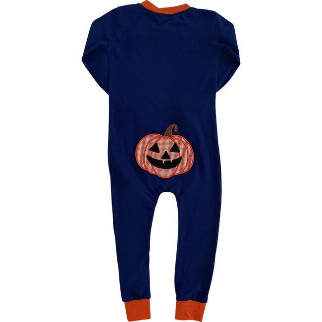 Jack O Lantern Applique Zip Up Pajamas with Ruffle, Navy