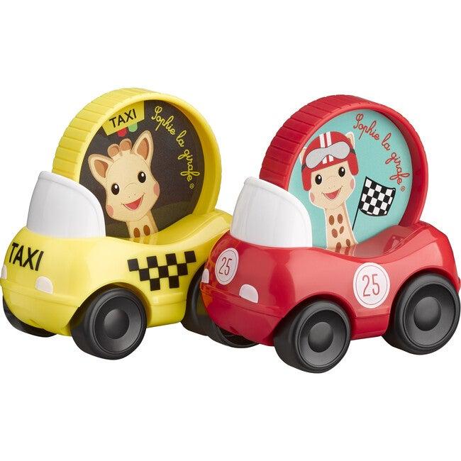 Set of 2 Sophie La Girafe Vehicles, Red/Yellow