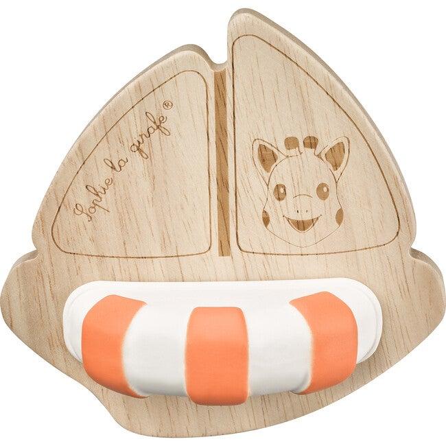 So'Pure Rubberwood Boat, Orange/White - Bath Toys - 1