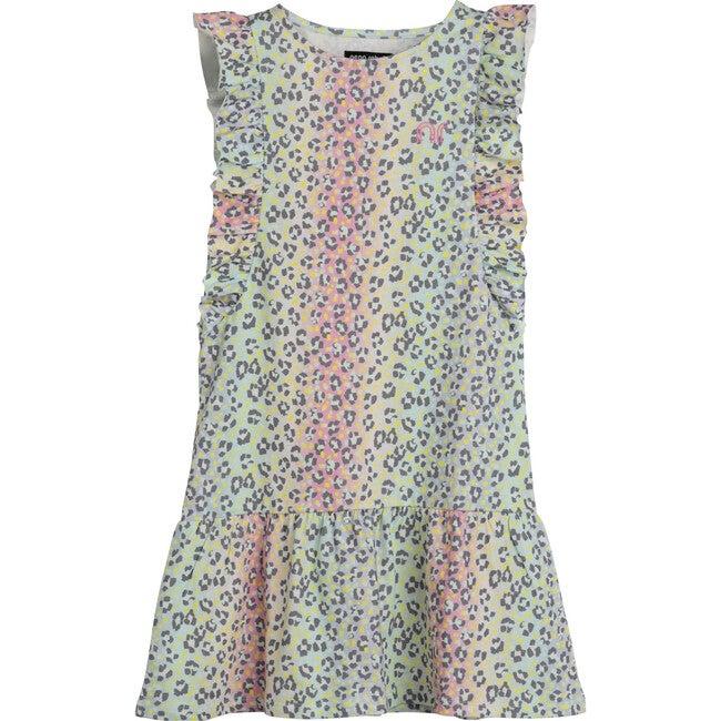 Coco Ruffle Dress, Rainbow Ombre Leopard