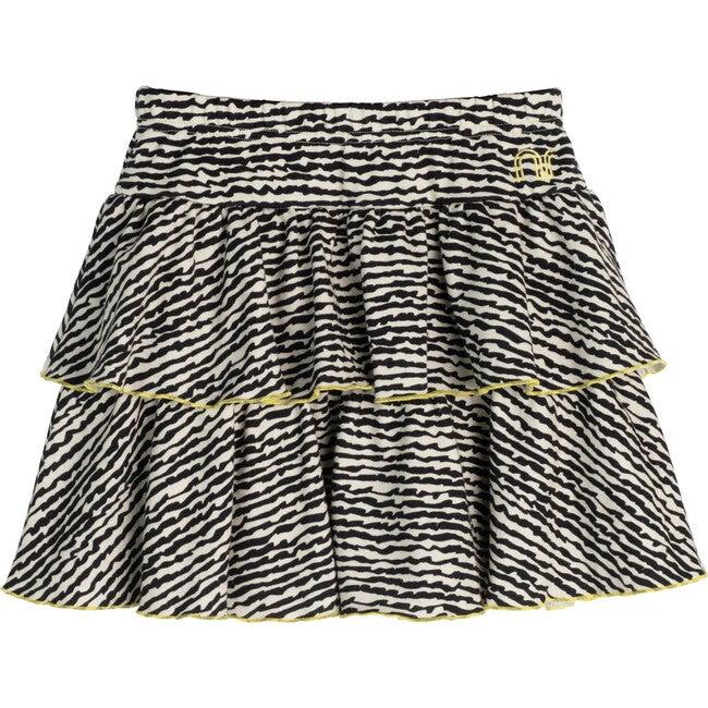Courtney Ruffle Skirt, Faded Black Fun Stripe - Dresses - 1