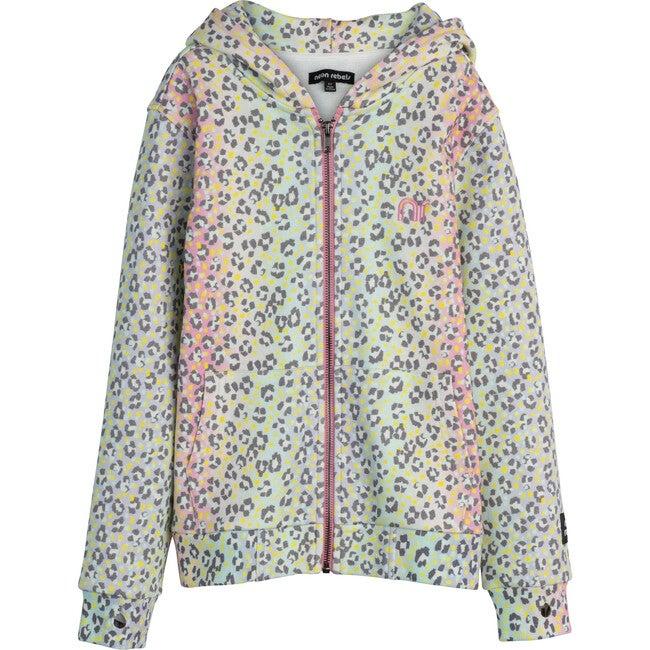 Rowan Sweatshirt Hoodie, Rainbow Ombre Leopard