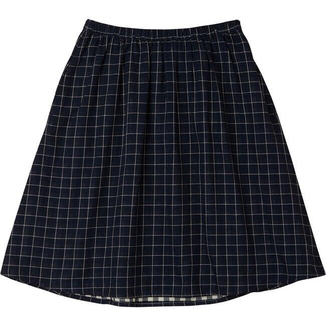 Checkered Midi Skirt, Navy