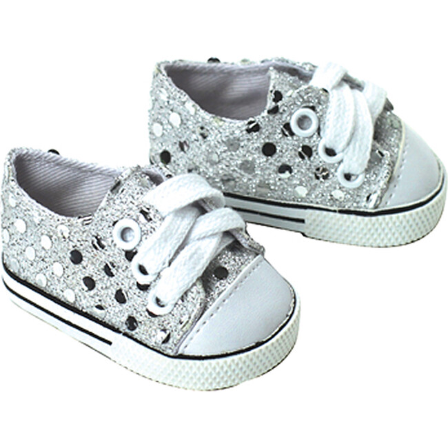 18'' Doll Sequin Sneakers, Silver