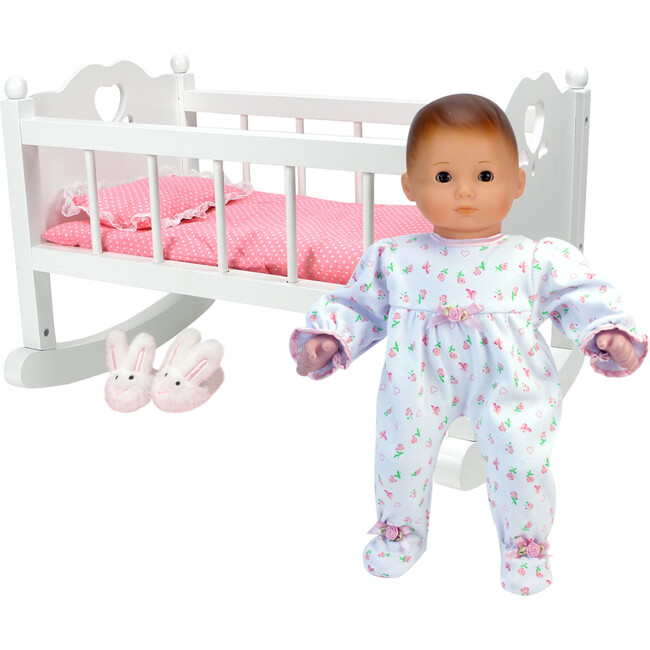 """16"""" Doll High End Baby Cradle, White"""