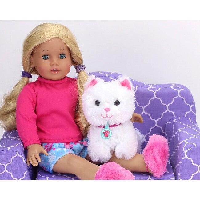 18'' Doll White Kitten & Carrier Set, Pink