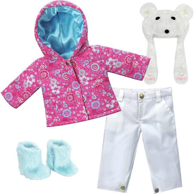 18'' Doll Print Parker, White Snowboard Pants, Aqua Fur Boots & Polar Bear Hat, Hot Pink