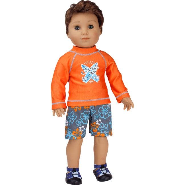 18'' Doll Surf Shirt & Floral Print Swim Trunks, Orange