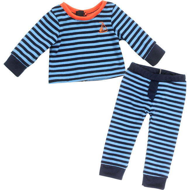 18'' Doll Stripe Pajama Pants & Long Sleeve T, Light Blue