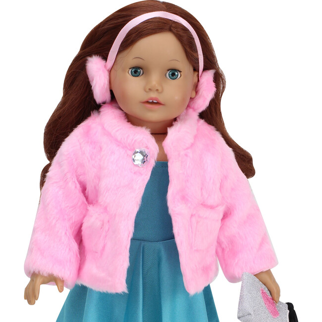 18'' Doll Fur Coat & Earmuff Headband, Pink